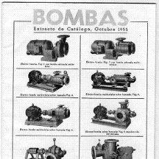 Catálogos publicitarios: EXTRACTO CATÁLOGO DE BOMBAS ,COMERCIAL INDUSTRIAL PALLARES, S. A. OCTUBRE 1955. Lote 29377411