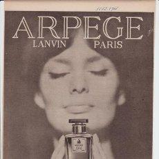 Catálogos publicitarios: PUBLICIDAD ANTIGUA. PERFUMES. ARPEGE. LANVIN. PARIS. 1965.. Lote 30111482