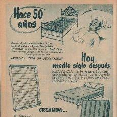 Catálogos publicitarios: PUBLICIDAD ANTIGUA. COLCHONES. FLEX. SOMIER NUMANCIA. 1955. HOJA COMPLETA.. Lote 30376196