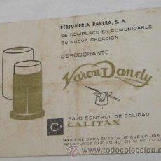 Catálogos publicitarios: PUBLICIDAD DE VARON DANDY. Lote 30580687