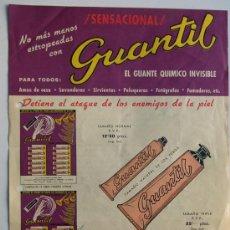 Catálogos publicitarios: GUANTIL -GUANTE QUIMICO INVISIBLE / AÑO 1958 / FOLLETO PUBLICIDAD COMERCIAL / CARACTERISTICAS. Lote 30665343