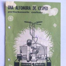 Catálogos publicitarios: CORTACESPED MAHER / AÑO 1957 / FOLLETO PUBLICIDAD COMERCIAL / CARACTERISTICAS. Lote 30669641