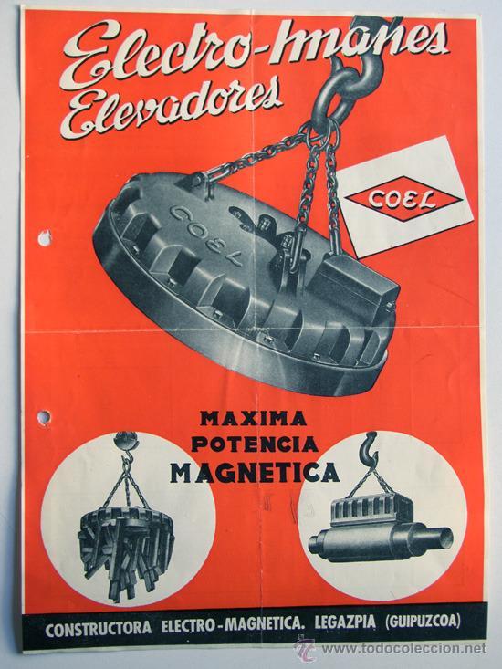 ELECTRO IMANES ELEVADORES -COEL / LEGAZPIA 1957 / FOLLETO PUBLICIDAD COMERCIAL / CARACTERISTICAS (Coleccionismo - Catálogos Publicitarios)