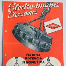 Catálogos publicitarios: ELECTRO IMANES ELEVADORES -COEL / LEGAZPIA 1957 / FOLLETO PUBLICIDAD COMERCIAL / CARACTERISTICAS. Lote 30669768