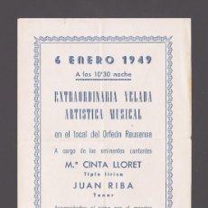 Catálogos publicitarios: REUS - VELADA MUSICAL EN EL ORFEÓN REUSENSE - CON Mª CINTA LLOBET Y JUAN RIBA. Lote 30669795