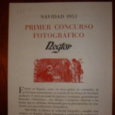 Cataloghi pubblicitari: PRIMER CONCURSO FOTOGRAFICO NEGTOR AÑO 1953. Lote 30693337