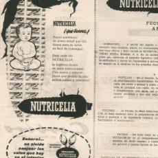 Catálogos publicitarios: RECORTE PUBLICIDAD.AÑOS 50.NUTRICELIA.INDUSTRIAS RIERA MARSA.PAPILLAS.. Lote 30982770