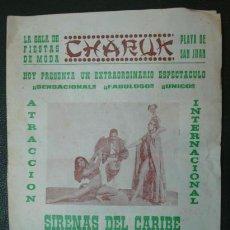 Catálogos publicitarios: PROGRAMA PUBLICITARIO SALA DE FIESTAS CHARUK. PLAYA DE SAN JUAN, ALICANTE. Lote 31369280