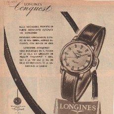 Catálogos publicitarios: PUBLICIDAD ANTIGUA. RELOJES. LONGINES CONQUEST. 1956.. Lote 32042242