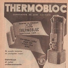 Catálogos publicitarios: PUBLICIDAD ANTIGUA. GENERADOR DE AIRE CALIENTE THERMOBLOC. WANSON. 1956.. Lote 142762621