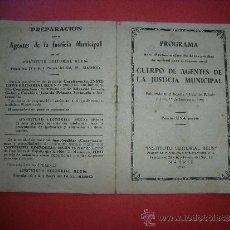Catálogos publicitarios: PROGRAMA CUERPO DE AGENTES DE LA JUSTICIA MUNICIPAL.. Lote 32213629