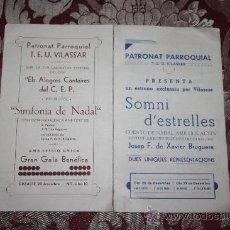 Catálogos publicitarios: 2 PROGRAMAS DE NAVIDAD DEL 'PATRONAT PARROQUIAL DE VILASSAR'. Lote 32378163