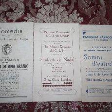 Catálogos publicitarios: 2 PROGRAMAS DE NAVIDAD DEL 'PATRONAT PARROQUIAL DE VILASSAR' Y UNO DE COMEDIA DE GALLART Y GONZALEZ. Lote 32378174
