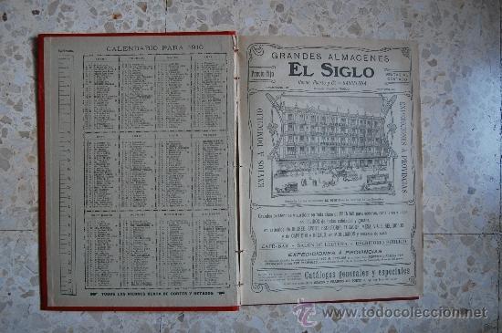Catálogos publicitarios: DIETARIO GRANDES ALMACENES EL SIGLO - BARCELONA - AÑO 1910 - 284 PÁGINAS + PLANO BARCELONA 89X65 CM. - Foto 2 - 33537645