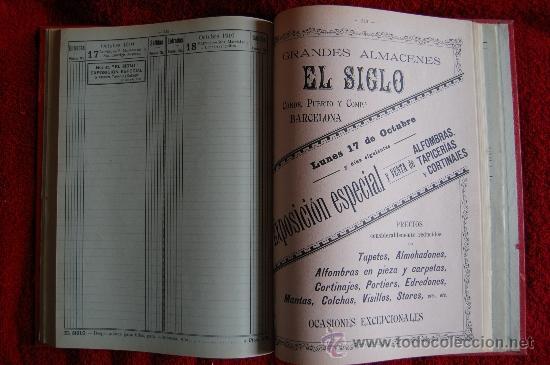 Catálogos publicitarios: DIETARIO GRANDES ALMACENES EL SIGLO - BARCELONA - AÑO 1910 - 284 PÁGINAS + PLANO BARCELONA 89X65 CM. - Foto 5 - 33537645