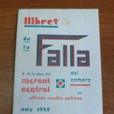 Catálogos publicitarios: LLIBRET FALLA PLAÇA DEL MERCAT CENTRAL. ALFREDO SENDÍN GALIANA. 1935. FALLAS, VALENCIA.. Lote 34411132