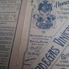 Catálogos publicitarios: CARTA COMERCIAL Y FOLLETO CON TARIFAS VINOS DE MALAGA BODEGAS GUILLERMO REIN 1942. Lote 35205597