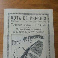 Catálogos publicitarios: ANTIGUO FOLLETO CATALOGO TARIFA DE PRECIOS TACONES GOMA ZAPATOS BRAVAN ZARAGOZA. Lote 35302315