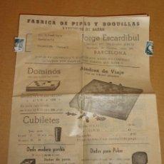 Catálogos publicitarios: FOLLETO CATALOGO FABRICA DE PIPAS Y BOQUILLAS Y BAZAR (AJEDREZ,DOMINO,..) J.ESCARDÍBUL 1954 . Lote 36015811