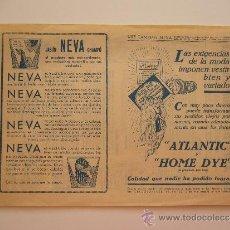 Catálogos publicitarios: PUBLICIDAD TINTE ATLANTIC, HOME DYE Y JABÓN NEVA. AL DORSO INSTRUCCIONES DE USO. BARCELONA.. Lote 36101494