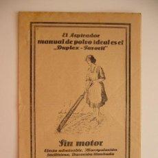 Catálogos publicitarios: PUBLICIDAD Y MANUAL. ASPIRADOR MANUAL DE POLVO IDEAL ES EL DUPLEX-FAVORIT. SIN MOTOR.. Lote 36101697