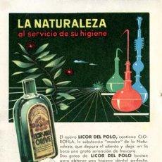 Catálogos publicitarios: PÁGINA PUBLICIDAD ORIGINAL *LICOR DEL POLO · ORIVE* AGENCIA CENTRAL PUBLICIDAD -- AÑO 1960. Lote 36150356