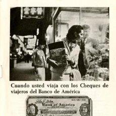 Catálogos publicitarios: PÁGINA PUBLICIDAD ORIGINAL *BANCO DE AMÉRICA · CHEQUES DE VIAJEROS* -- AÑO 1967. Lote 36198460