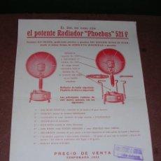 Catálogos publicitarios: CATLOGO 1 HOJA EL SOL EN CASA CON EL POTENTE RADIADOR PHOEBUS 521 F - 1933 29,5X21,5 CM. . Lote 36224526