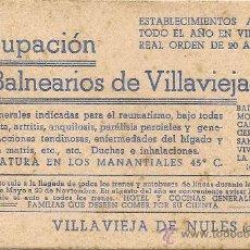Cataloghi pubblicitari: CASTELLON - VILLAVIEJA DE NULES -1892 - BALNEARIO -AGRUPACION DE BALNEARIOS -PUBLICIDAD ANTIGUA. Lote 36553960