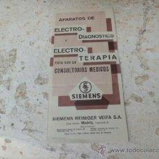 Catálogos publicitarios: FOLLETO PUBLICITARIO APARATOS DE ELECTRO-DIAGNOSTICO Y ELECTRO-TERAPIA SIEMENS MADRID C-35. Lote 36980386