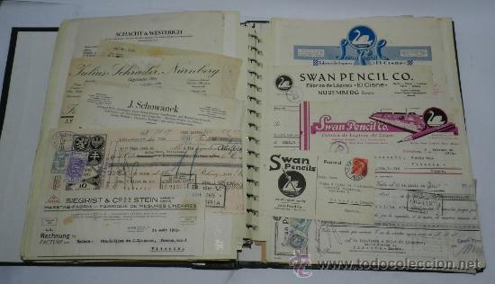 ANTIGUO ALBUM DE TARJETAS, FACTURAS Y DOCUMENTOS COMERCIALES DE CASAS EDITORIALES, LIBRERIAS, FABRIC (Coleccionismo - Catálogos Publicitarios)