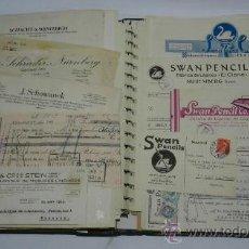 Catálogos publicitarios: ANTIGUO ALBUM DE TARJETAS, FACTURAS Y DOCUMENTOS COMERCIALES DE CASAS EDITORIALES, LIBRERIAS, FABRIC. Lote 37137403