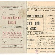 Catálogos publicitarios: CALATAYUD (ZARAGOZA) - MARIANO GASPAR LAUSÍN VIVEROS - CATÁLOGO ESPECIAL Nº 14 - AÑO 1924. Lote 37167007