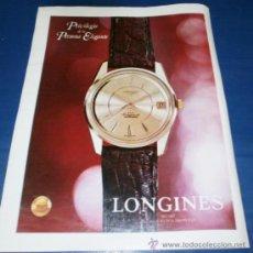 Catálogos publicitarios: HOJA PUBLICIDAD RELOJ LONGINES. Lote 37318315
