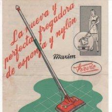 Catálogos publicitarios: FOLLETO PUBLICITARIO DE LA FREGADORA MAXIM FERVIC. INDUSTRIAS FERVIC. BARCELONA. Lote 37459589