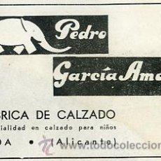 Catálogos publicitarios: PUBLICIDAD FABRICA DE CALZADO PEDRO GARCIA AMAT ELDA ALICANTE. AÑO 1941 TAMAÑO 8 X 12 CM.. Lote 37653941