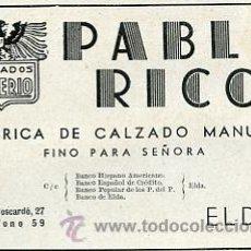 Catálogos publicitarios: PUBLICIDAD FABRICA DE CALZADO MANUAL PABLO RICO ELDA ALICANTE. AÑO 1941 TAMAÑO 8 X 12 CM.. Lote 37654026