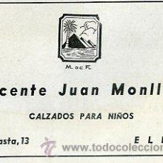 Catálogos publicitarios: PUBLICIDAD VICENTE JUAN MONLLOR CALZADO PARA NLÑOS. ELDA ALICANTE. AÑO 1941 TAMAÑO 8 X 12 CM.. Lote 37654270