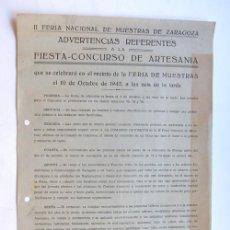 Catálogos publicitarios: FOLLETO PUBLICIDAD / II FERIA NACIONAL DE MUESTRAS DE ZARAGOZA / 1942. Lote 37669051