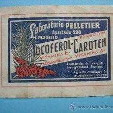 Catálogos publicitarios: PUBLICIDAD. LABORATORIO PELLETIER. TOCOFEROL CAROTEN. Lote 38102037