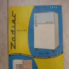 Catálogos publicitarios: ZODIAC PUBLICIDAD NEVERAS ZODIAC MODELOS 1962. Lote 38244039