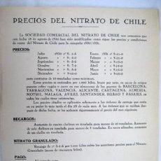 Catálogos publicitarios: CATÁLOGO PRECIOS : NITRATO DE CHILE. 1930. Lote 38313802