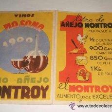Catálogos publicitarios: VINOS MONTROY FOLLETO CON PUBLICIDAD AÑOS 40 . Lote 38308754