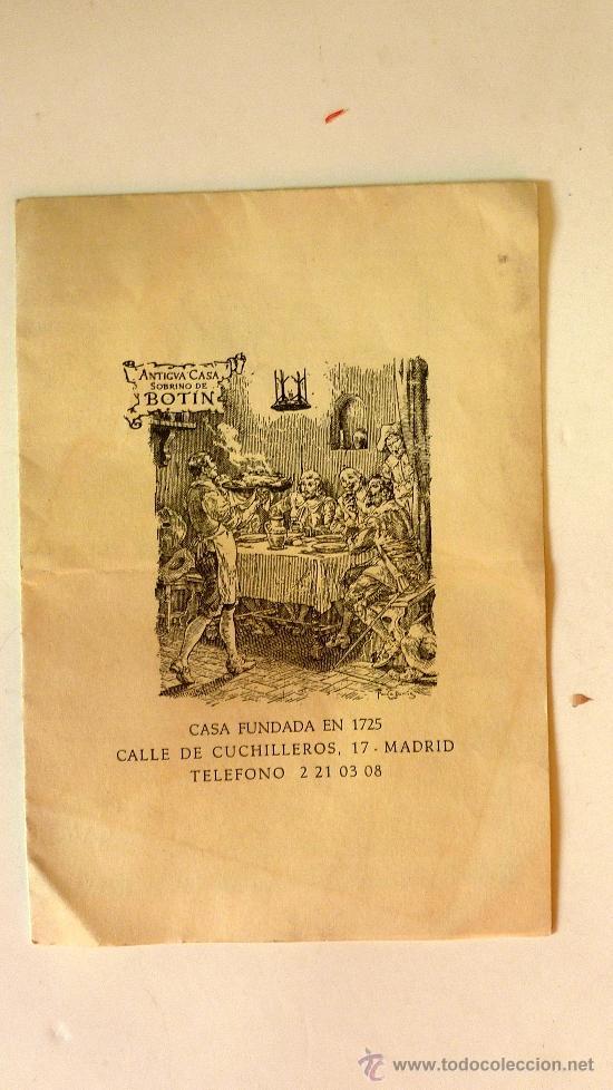 CARTA MENÚ RESTAURANTE ANTIGUA CASA SOBRINO DE BOTIN MADRID CUCHILLEROS . DESPLEGABLE. PLANO. (Coleccionismo - Catálogos Publicitarios)