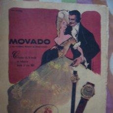 Catálogos publicitarios: PUBLICIDAD PROCEDENTE DE PUBLICACION. AÑOS 40-50. RELOJ. MOVADO. Lote 38753410