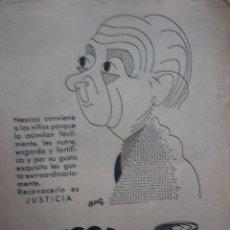 Catálogos publicitarios: PUBLICIDAD PROCEDENTE DE PUBLICACION. AÑOS 40-50. NESTLE. NESCAO. Lote 38754369