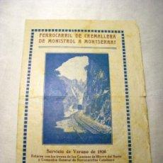 Catálogos publicitarios: CREMALLERA DE MONISTROL A MONTSERRAT - CATALOGO SERVICIO VERANO 1926. Lote 38763267