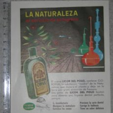 Catálogos publicitarios: ANUNCIO PUBLICITARIO DE LICOR DEL POLO, OCTUBRE DE 1958. Lote 38765651