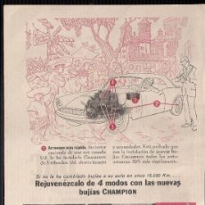 Catálogos publicitarios: ANUNCIO PUBLICITARIO DE CHAMPION, AGOSTO DE 1957. Lote 39044368