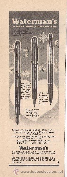 ANUNCIO PUBLICITARIO DE PLUMAS AMERICANAS WATERMAN, DICIEMBRE DE 1958 (Coleccionismo - Catálogos Publicitarios)